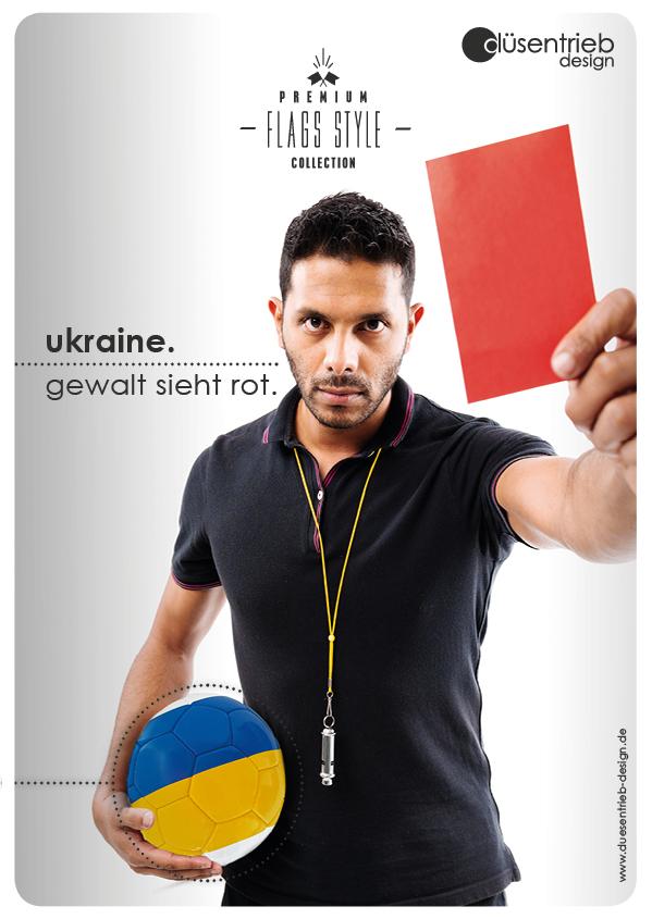 Plakat Ukraine Gewalt sieht rot Schiedsrichter mit Fußball unter dem Arm