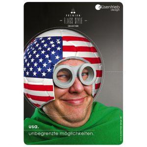 Plakat USA unbegrenzte Möglichkeiten, Mann mit USA Fußball als Helm