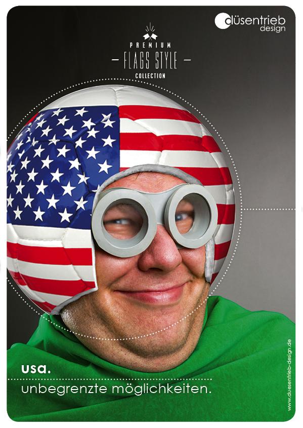 Plakat USA unbegrenzte Möglichkeiten Mann mit Flaggenfußball als Helm