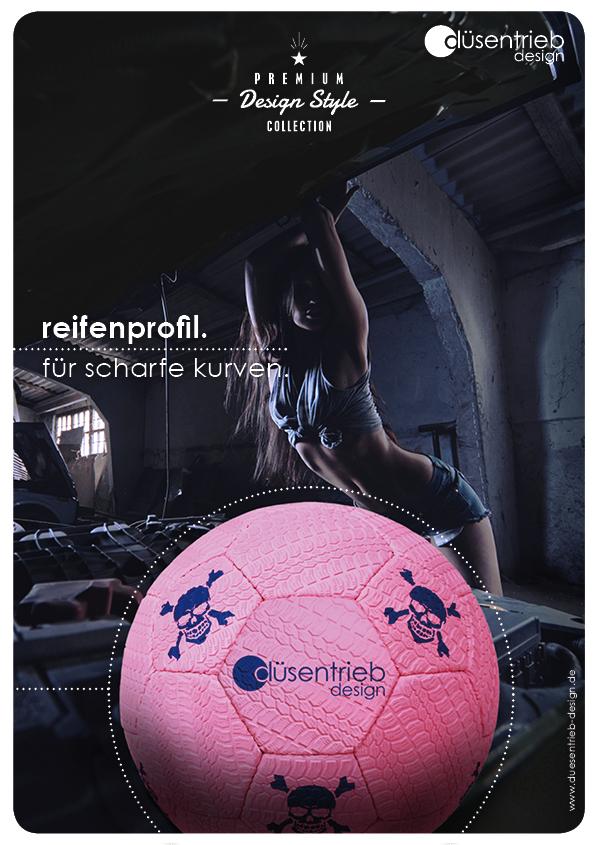 Plakat Reifen für scharfe Kurven Fußball Reifenprofil