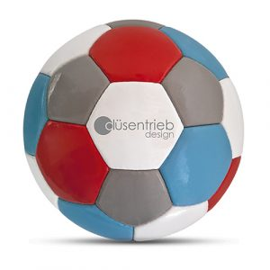 Designball vierfarbig blau rot grau weiß