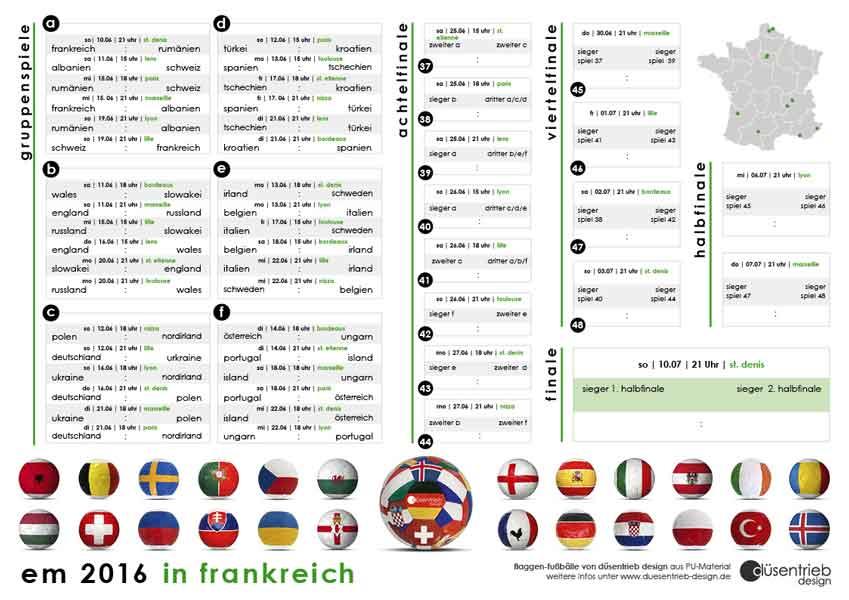 Fußball EM 2016 Spielplan